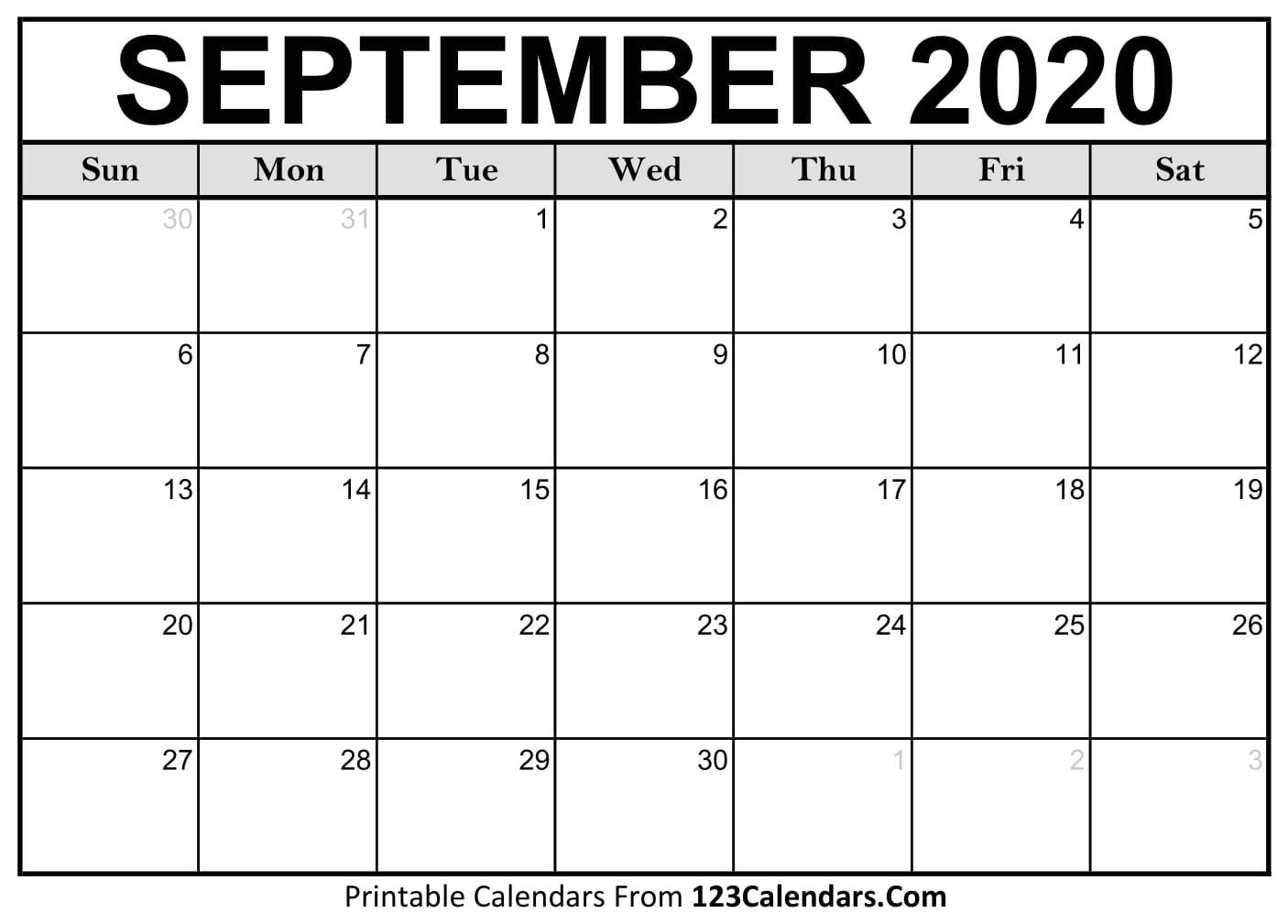 September 2020 Printable Calendar | 123Calendars