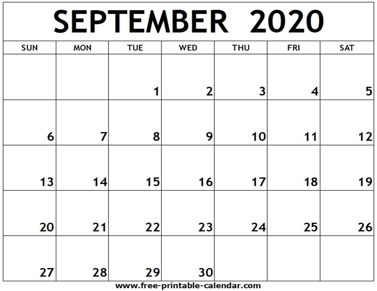 Print Calendar August September 2020