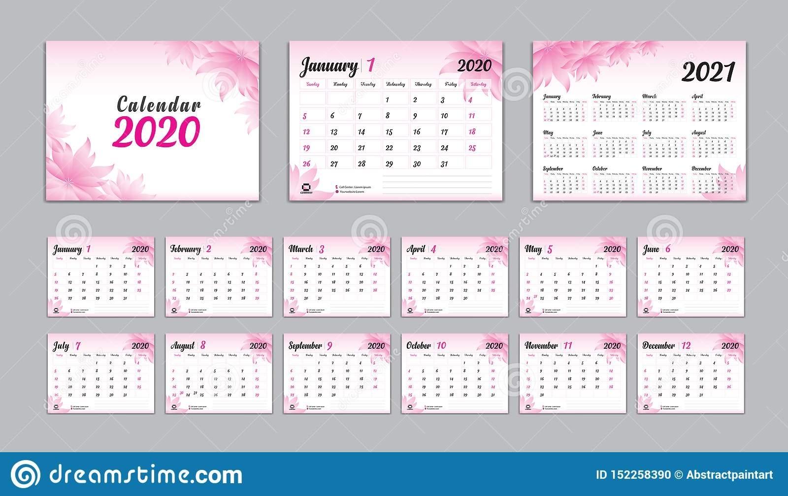 Set Desk Calendar 2020 Vector, Calendar 2021 Design, Week