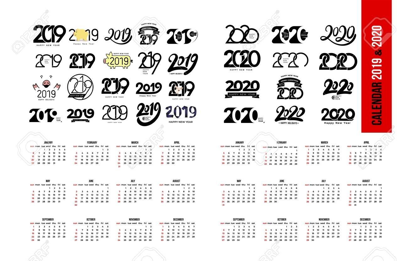 Set Of Calendar 2019 And 2020 Template. Calendar Logo Design..