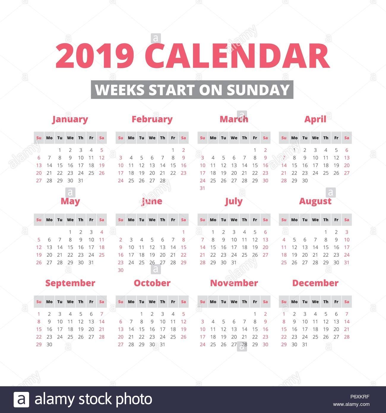 Simple 2019 Year Calendar, Week Starts On Sunday Stock