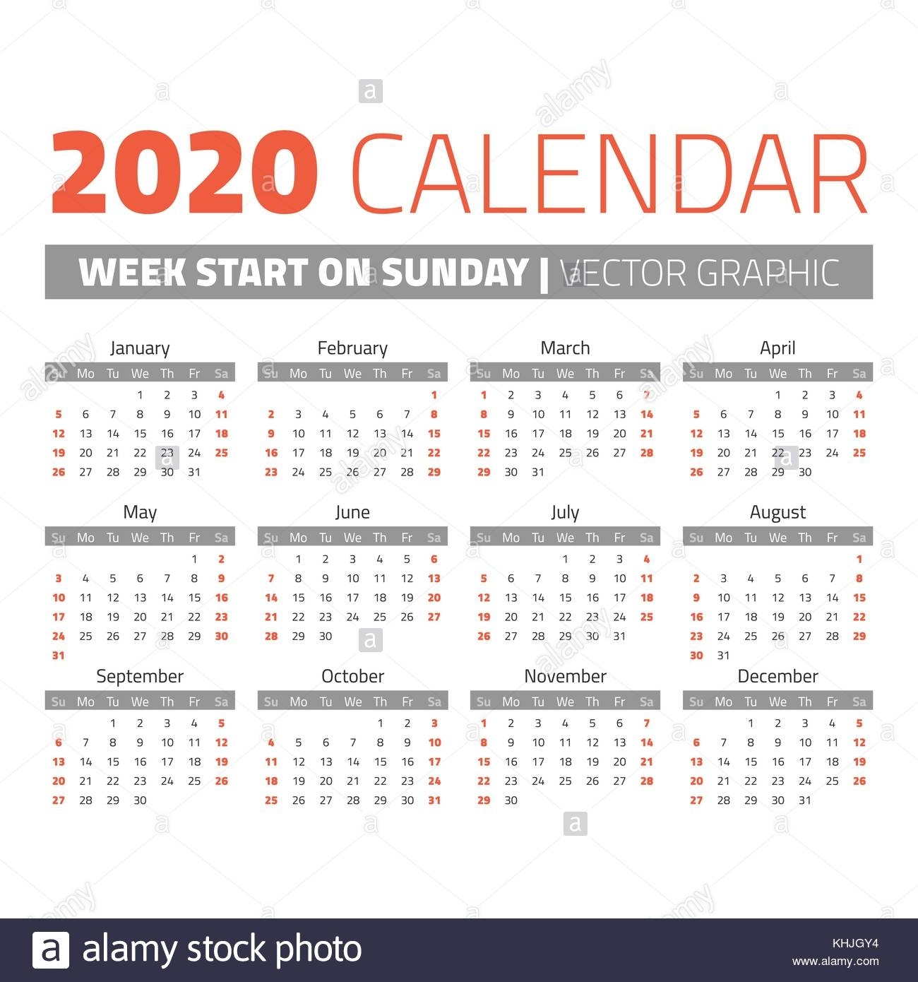 Simple 2020 Year Calendar. Weeks Start On Sunday Stock