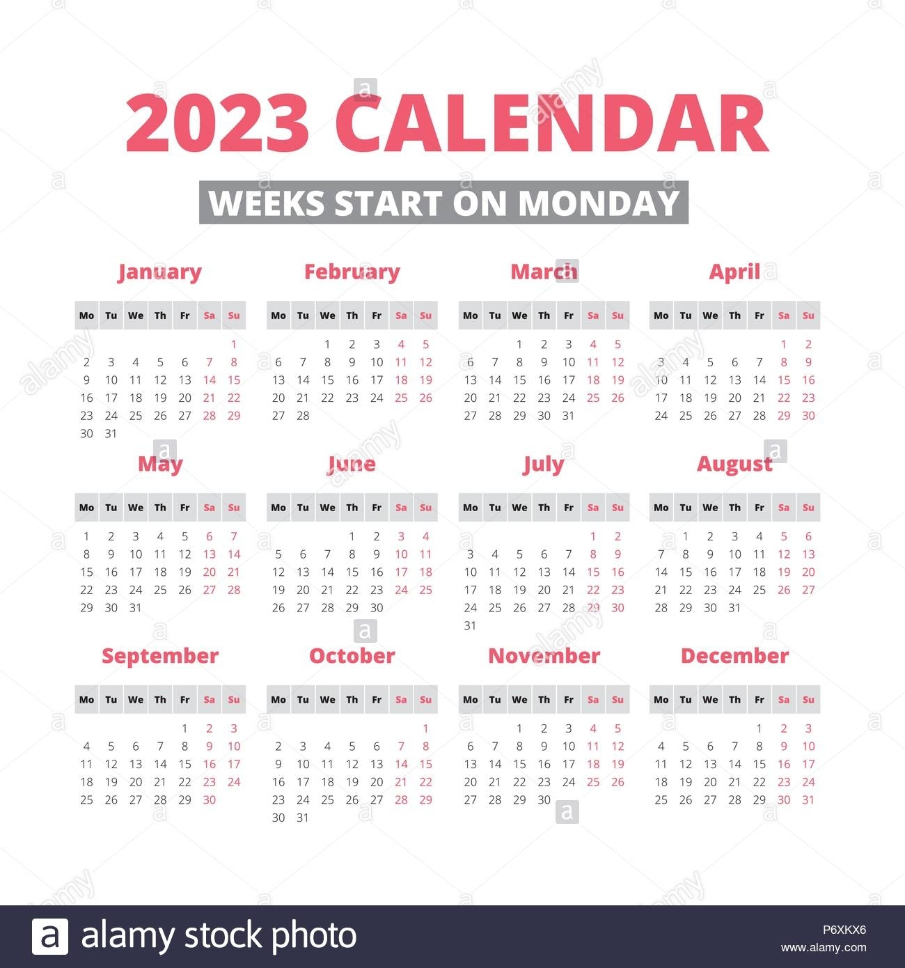 Simple 2023 Year Calendar, Week Starts On Monday Stock