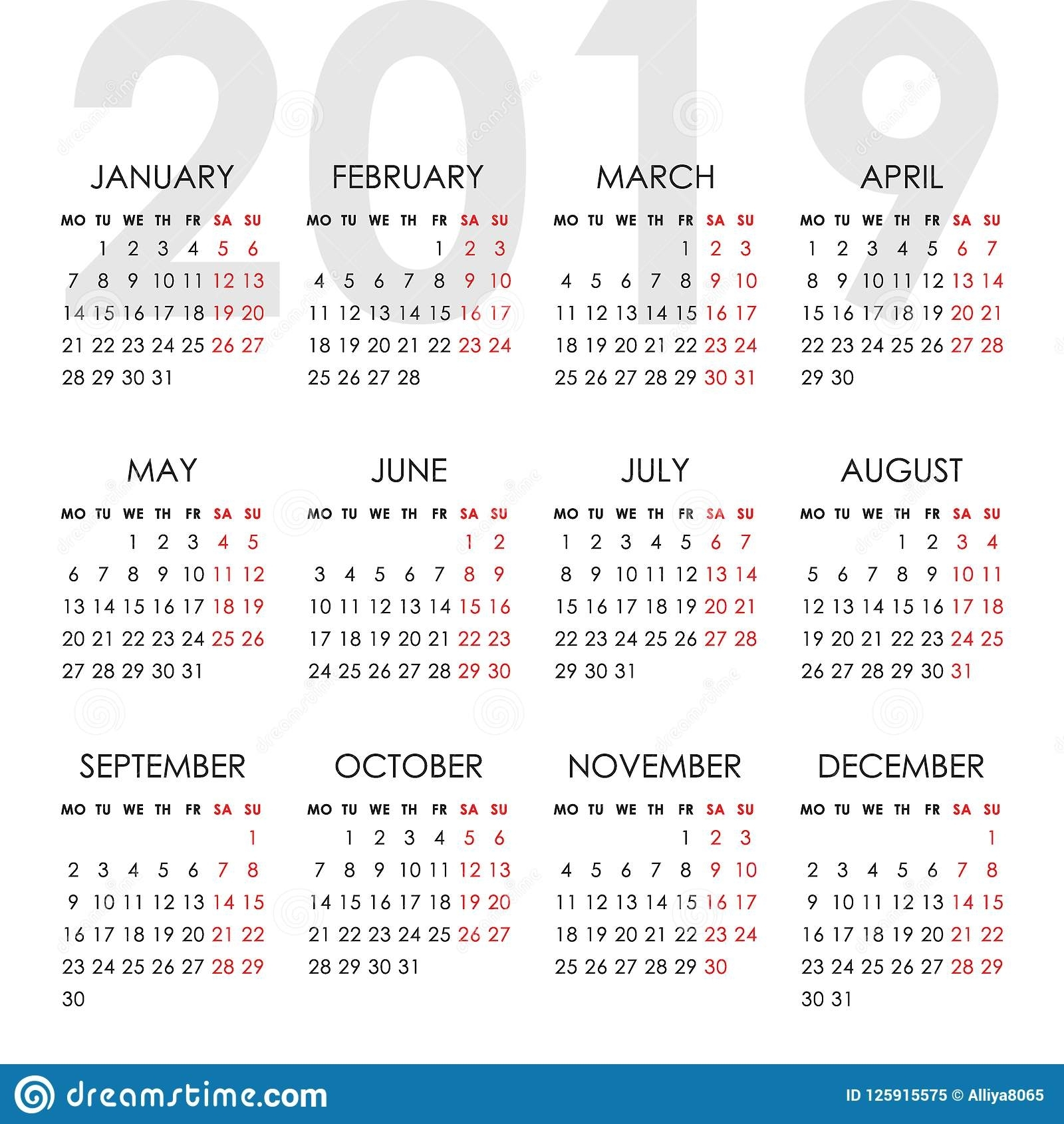Simple Calendar For 2019 Year. Week Starts Monday Stock