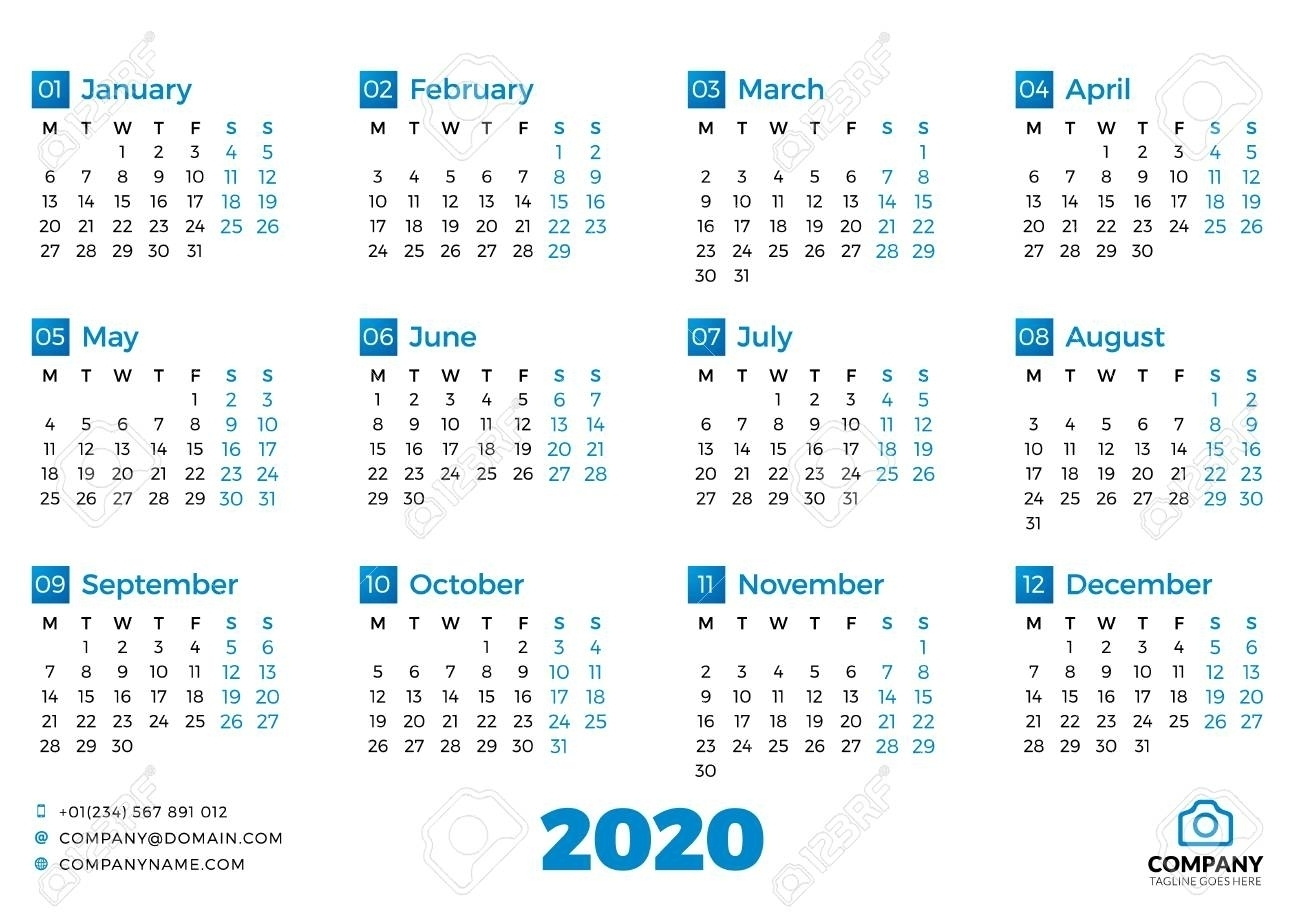 Simple Calendar Template For 2020 Year. Week Starts On