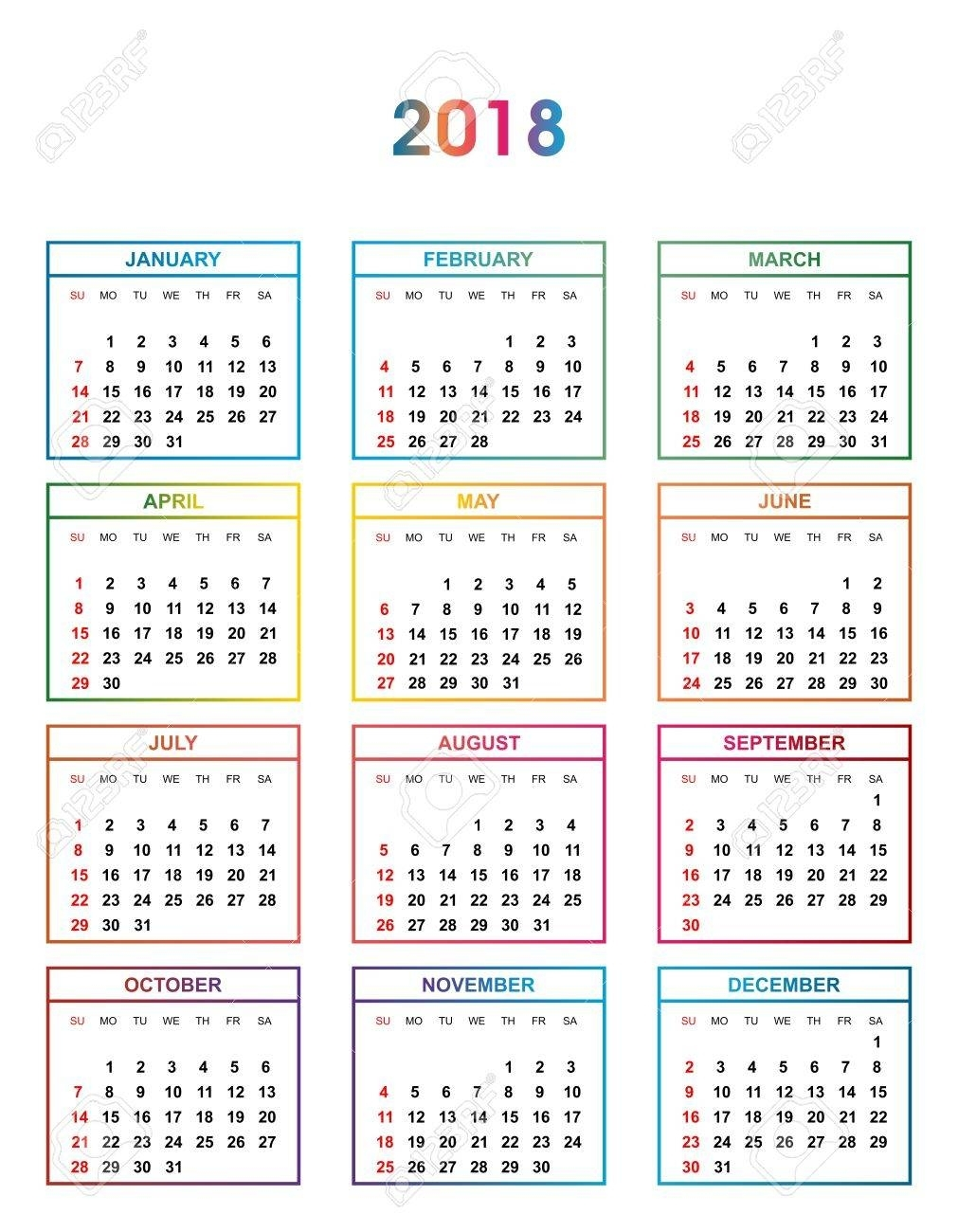 Simple Color Calendar For The Year 2018. The Names Of Days And..