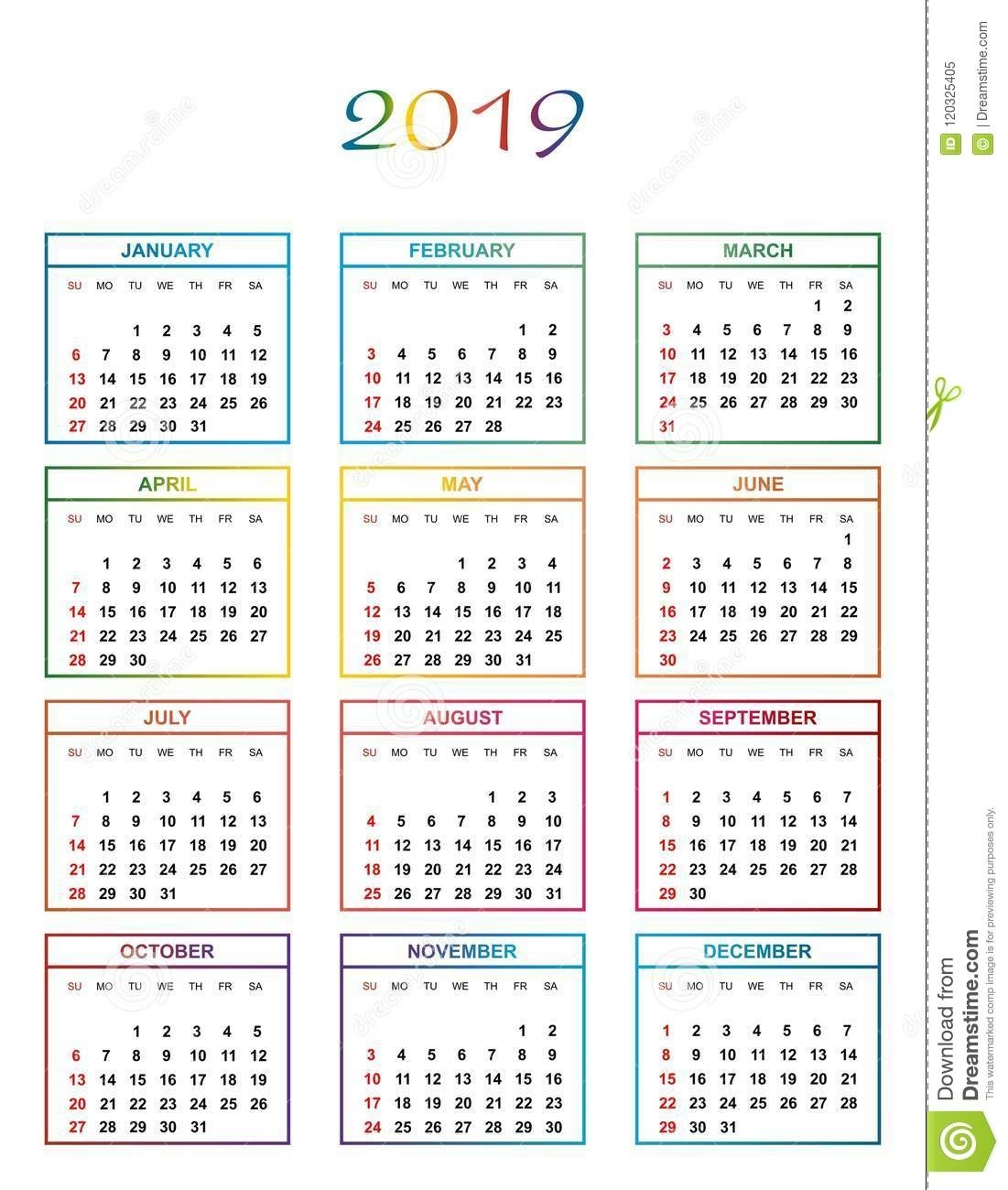 Simple Color Calendar For The Year 2019 With Name Of Day
