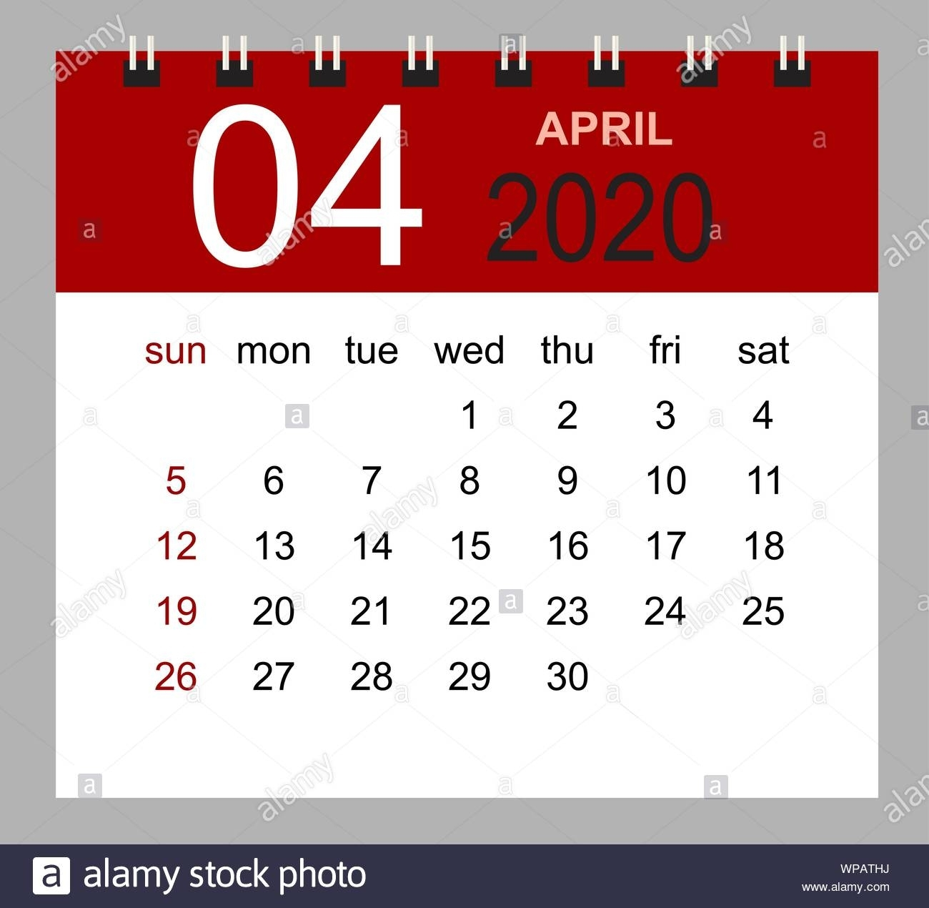 Simple Desk Calendar For April 2020. Week Starts Sunday