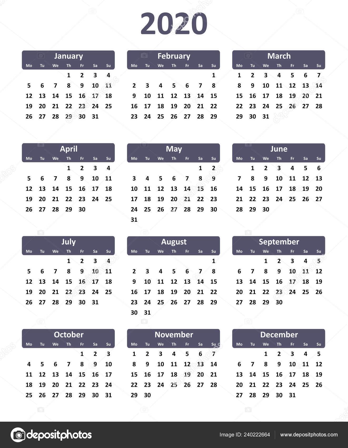 Simple Editable Vector Calendar Year 2020 — Stock Vector