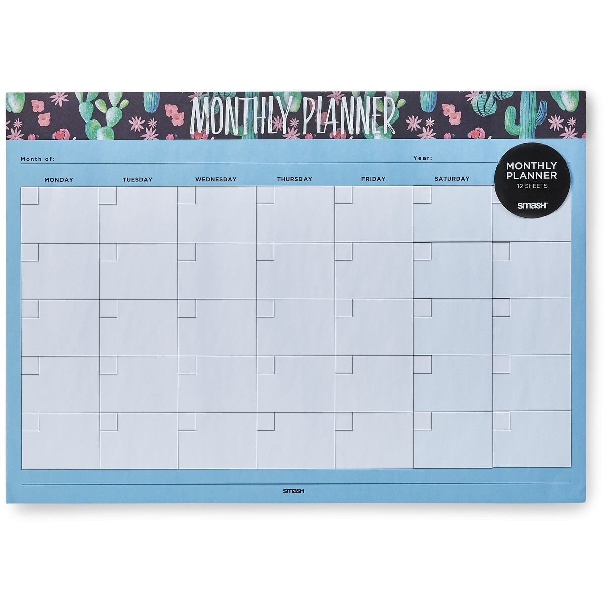 Smash Cactus Monthly Planner