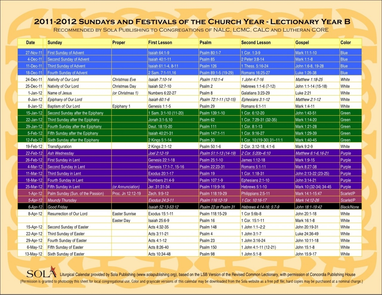 Sola Sunday School Archive: Free Electronic Calendar From Cph