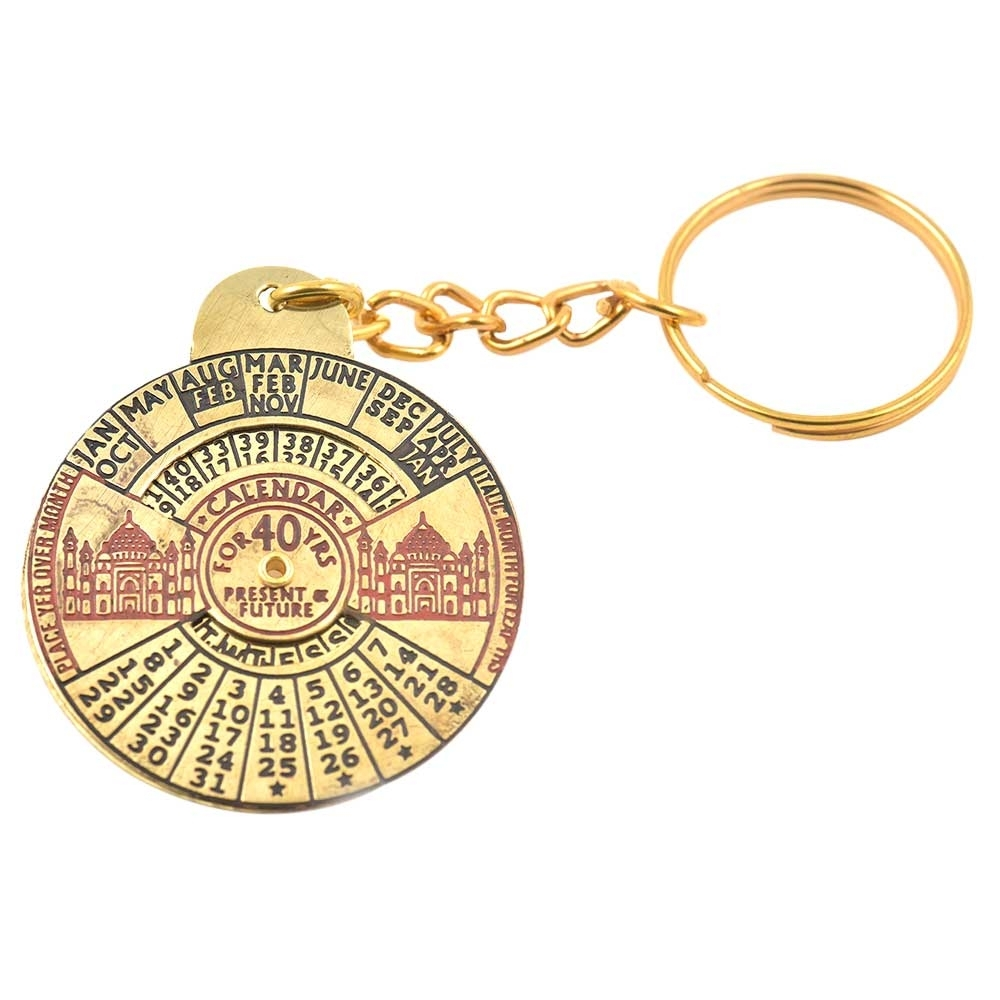 Taj Mahal 40 Year Brass Keychain Calendar Engraved On The Top