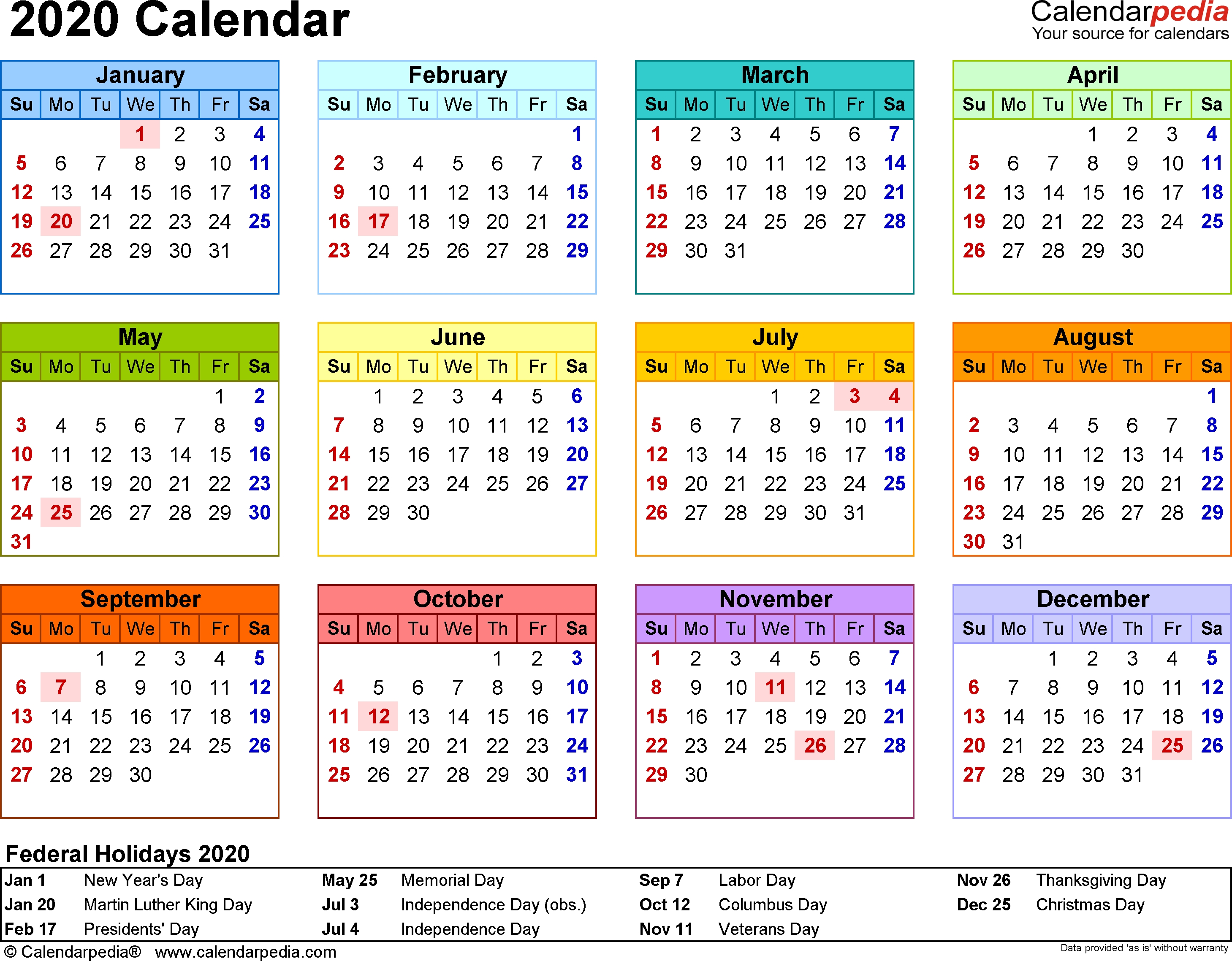 Template 8: 2020 Calendar For Word, Year At A Glance, 1 Page