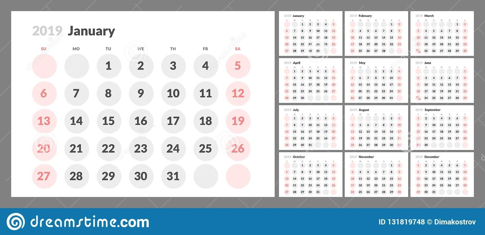The Calendar For The 2019 New Year Printable Stock Vector