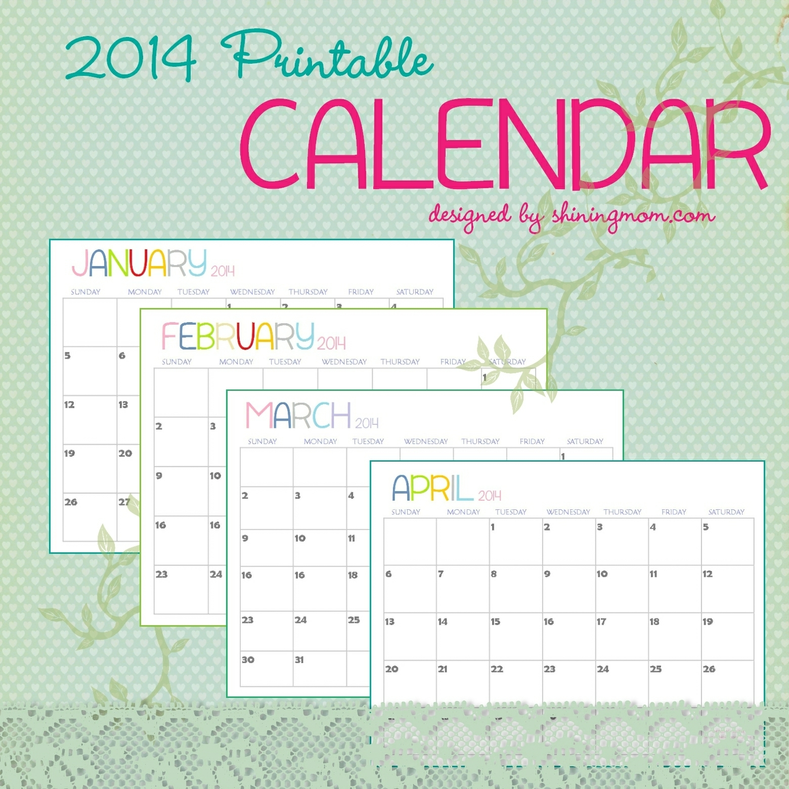 The Free Printable 2014 Calendarshining Mom Is Here!