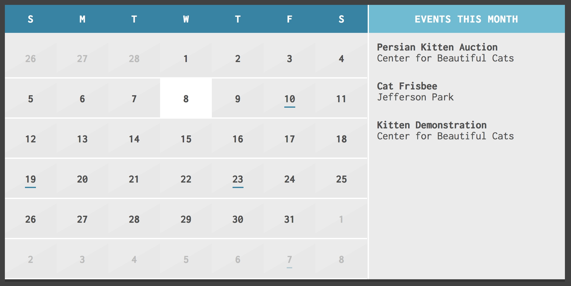 Year Calendar Jquery Plugin