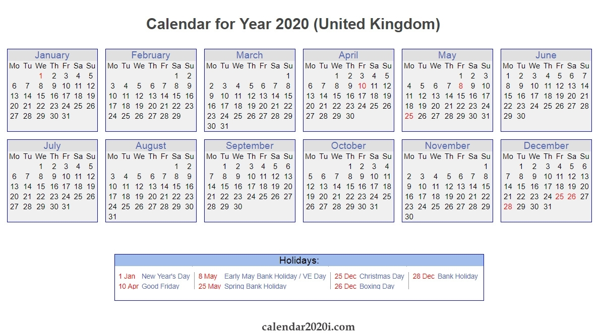 Uk 2020 Calendar Printable, Wallpapers, Holidays, Pdf, Excel