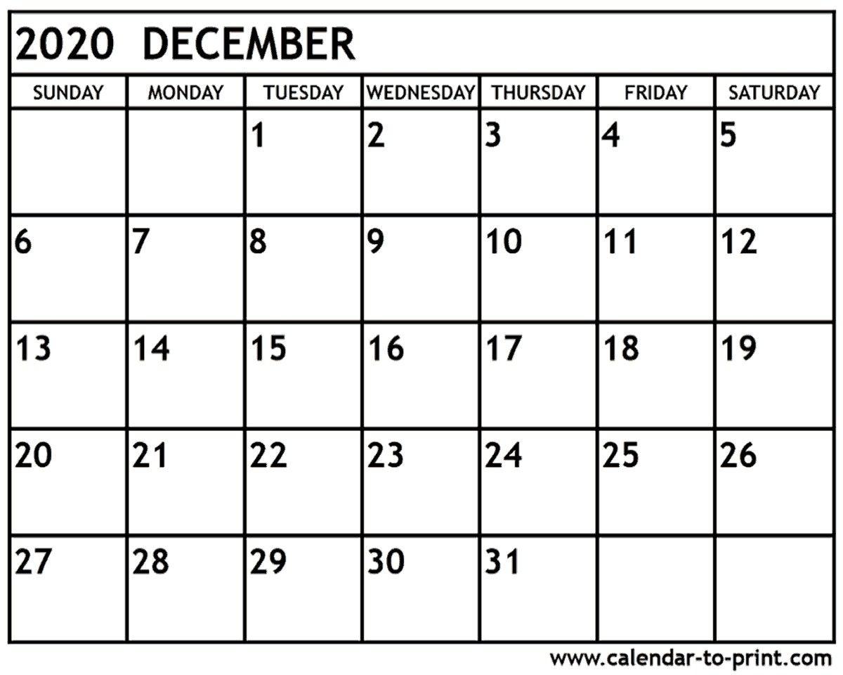 Unique Dec 2020 Calendar Printable