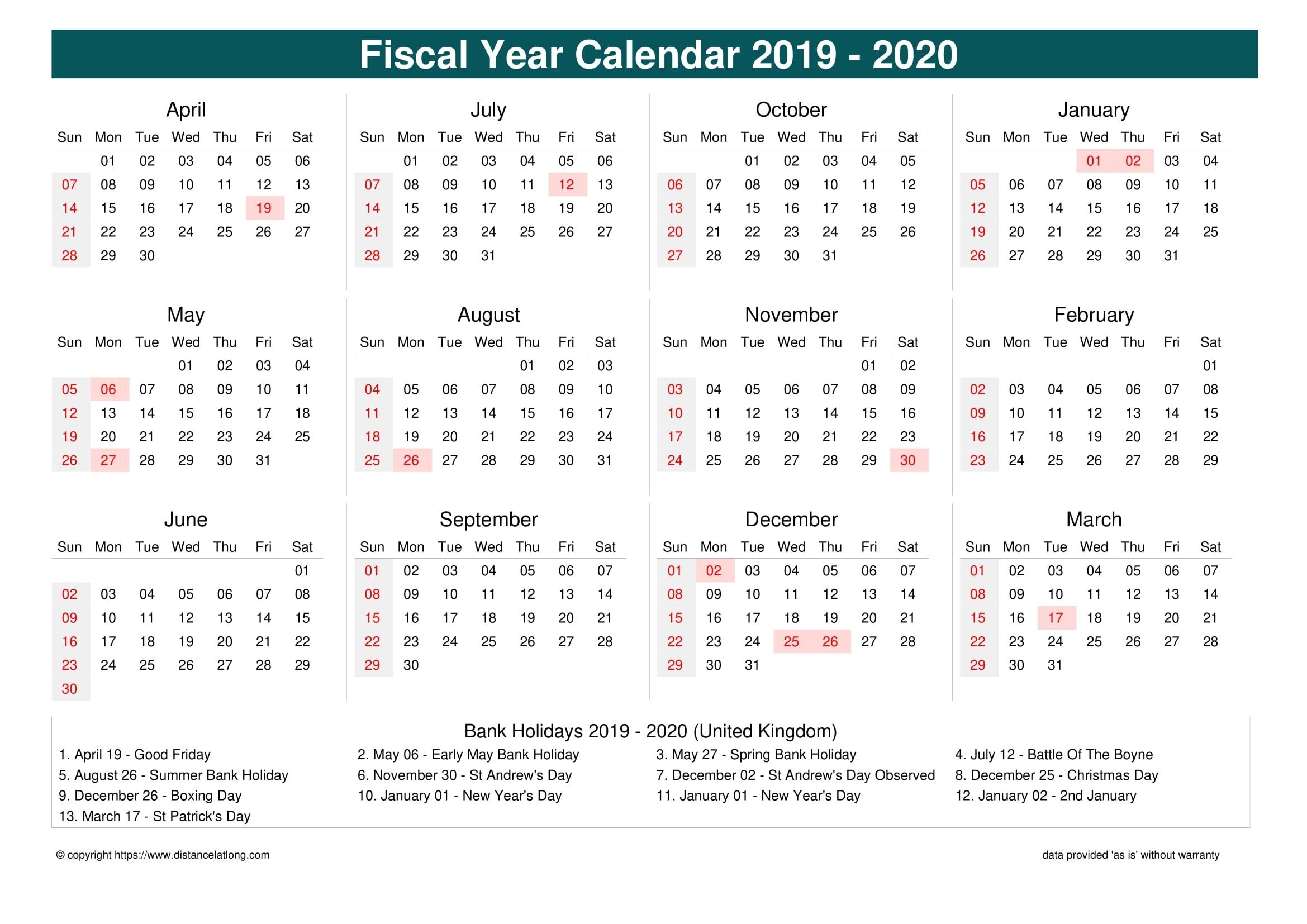 United Kingdom Fiscal Year 2019-2020 Calendar Templates