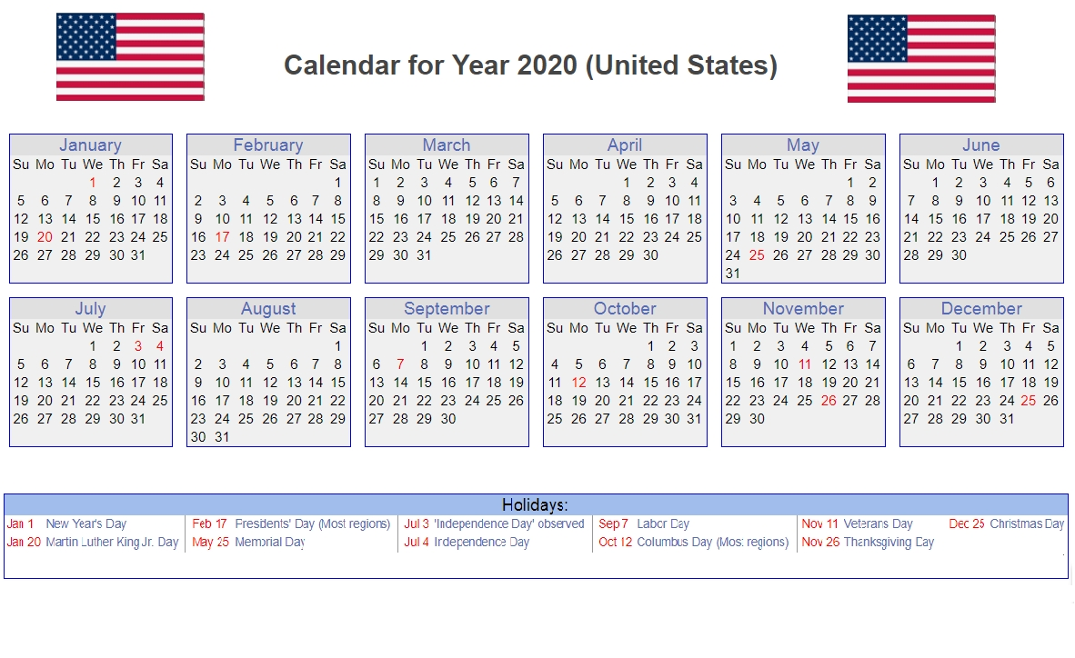 Us 2020 Calendar Yearly 12 Month Printable (With Images