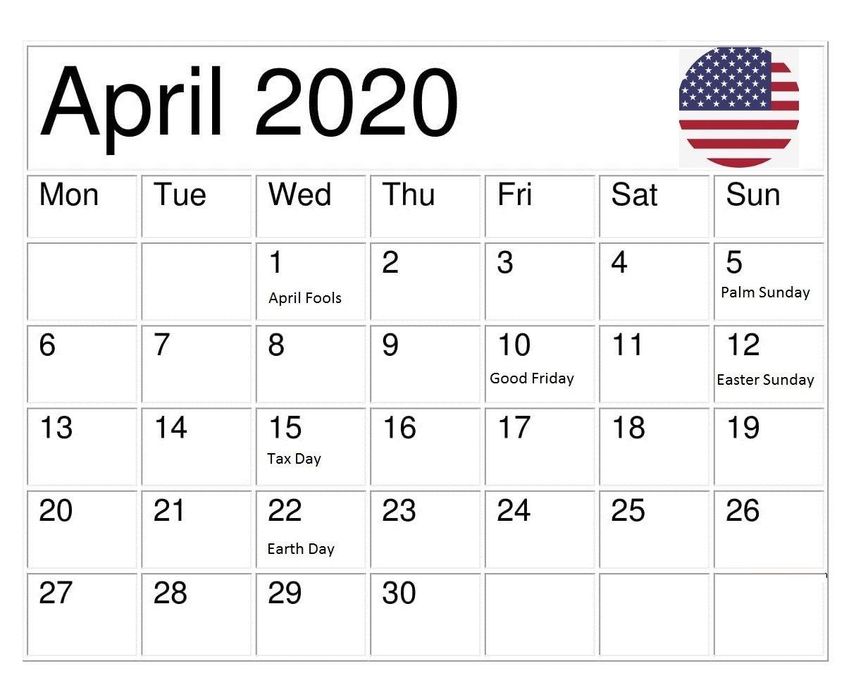 Usa April 2020 Holidays Calendar In 2020 | Holiday Calendar