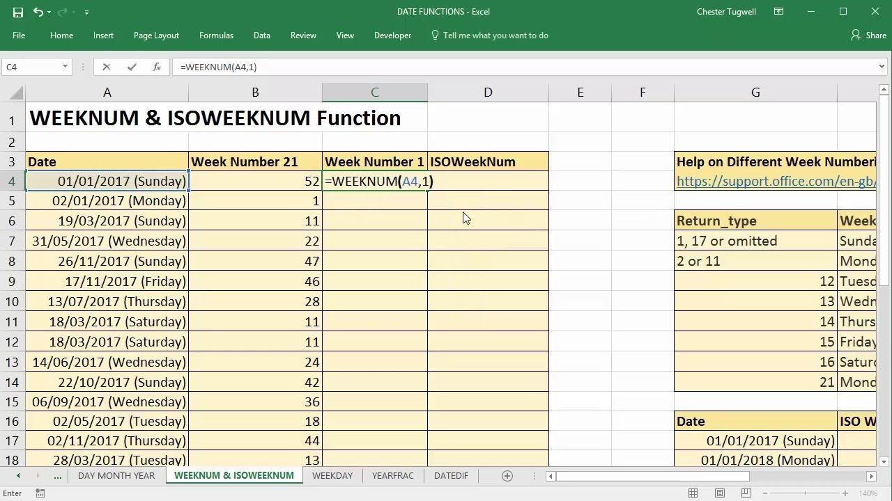 Use Excel To Convert Date To Week Number Using Weeknum And Isoweeknum