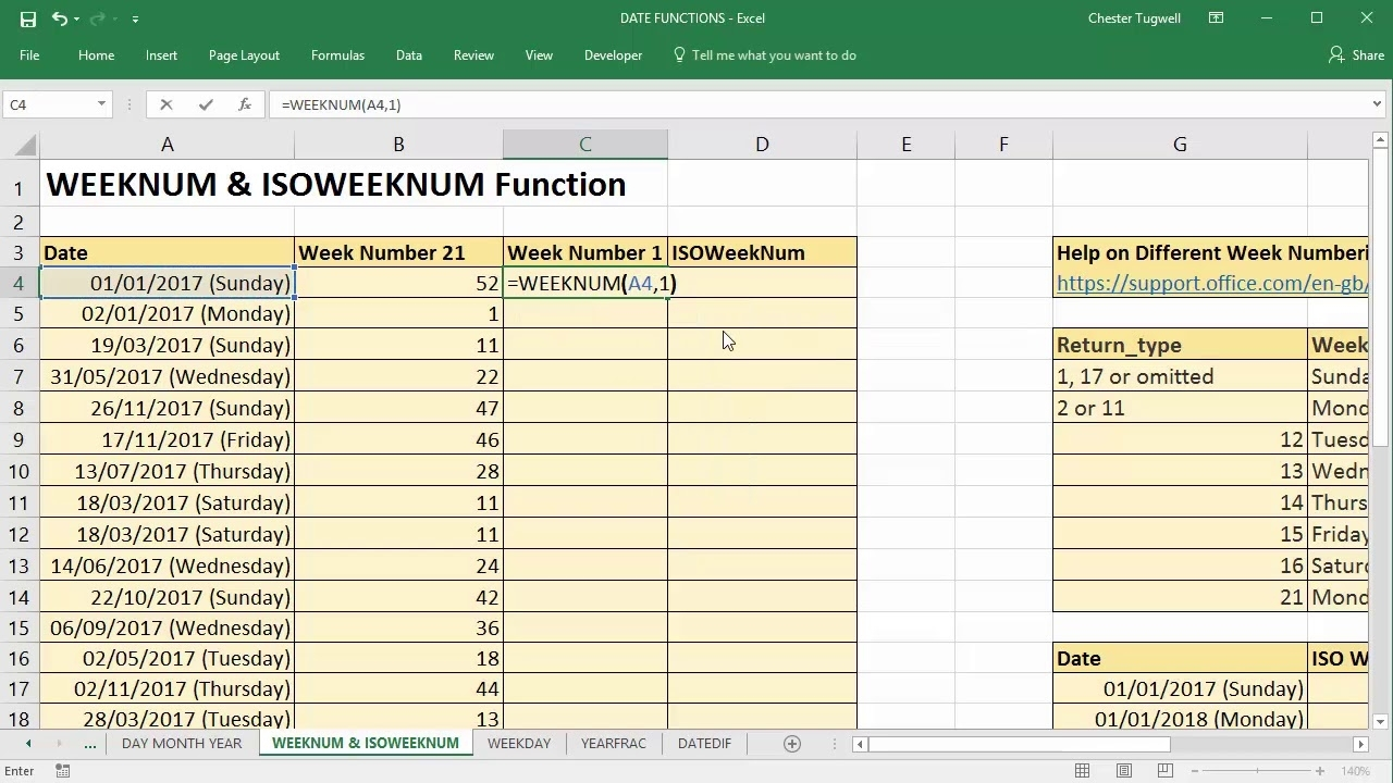 Use Excel To Convert Date To Week Number Using Weeknum And Isoweeknum
