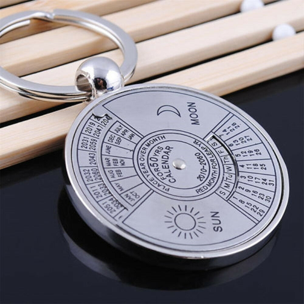Utility Perpetual Calendar Keyring Keychain Unique Metal Key Chain Ring 50  Year