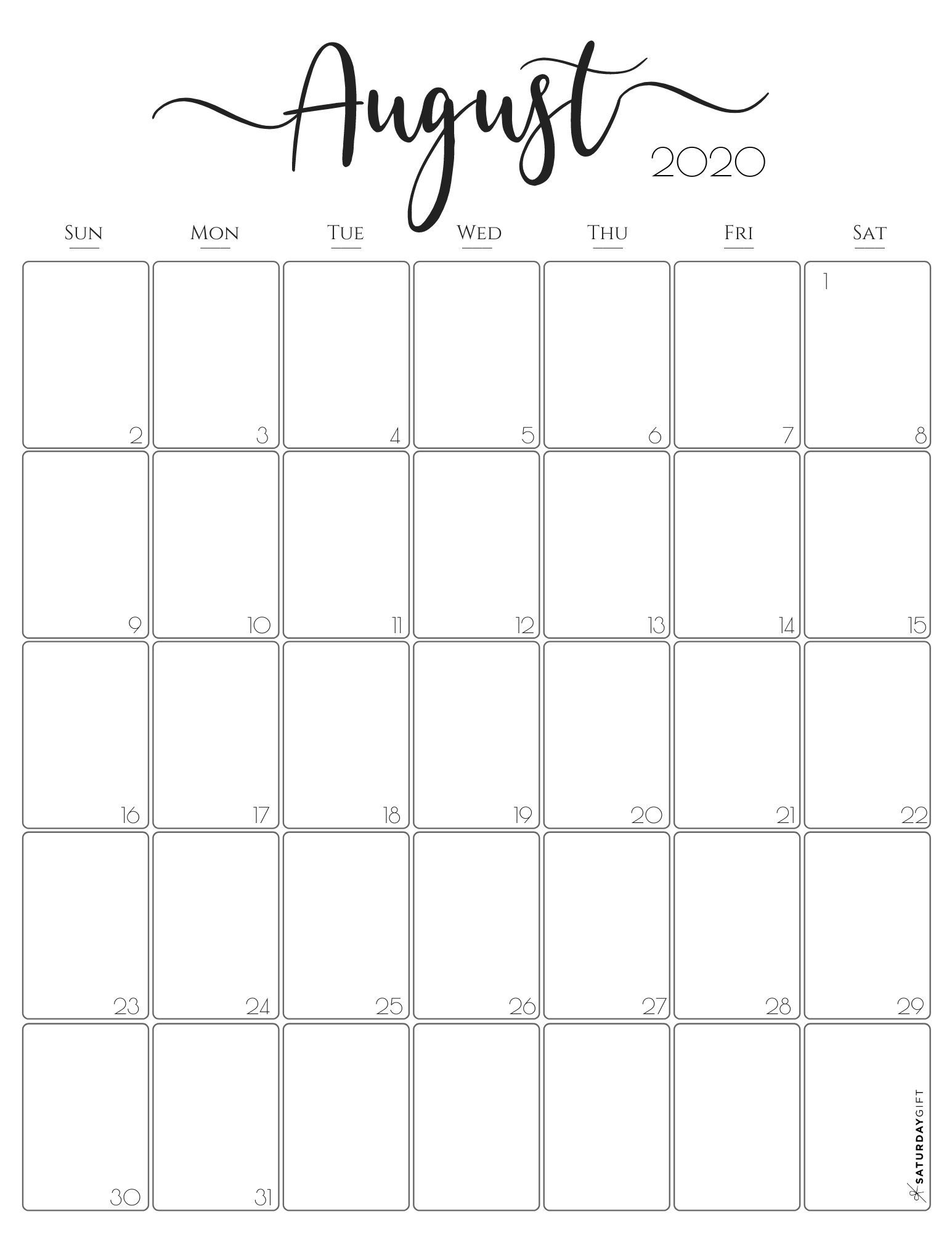 Vertical 2020 Monthly Calendar - Stylish (& Free