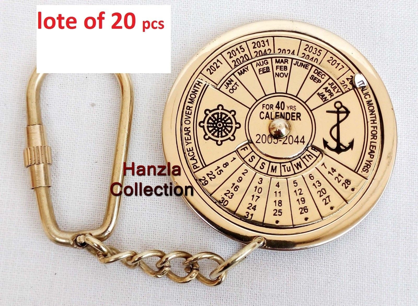 Vintage Nautical 40 Years Perpetual Calendar Keychain Brass Keychain Key  Ring