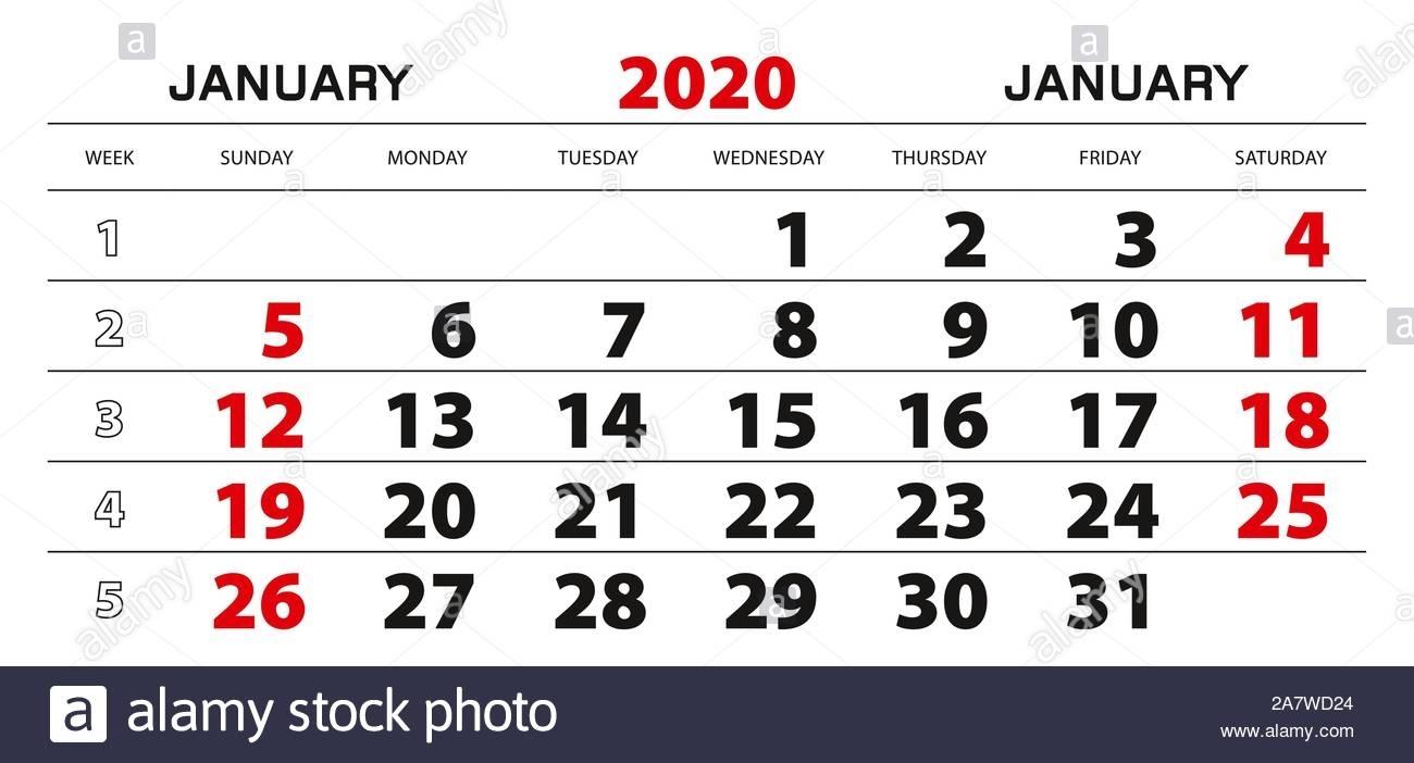 Wall Calendar 2020 For January, Week Start From Sunday