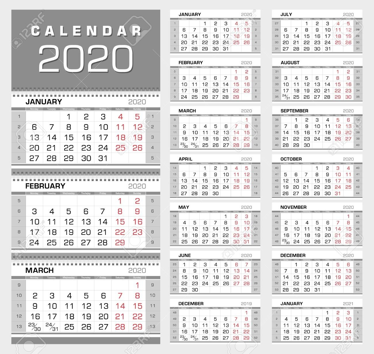 Wall Quarterly Calendar 2020 With Week Numbers. Week Start From..