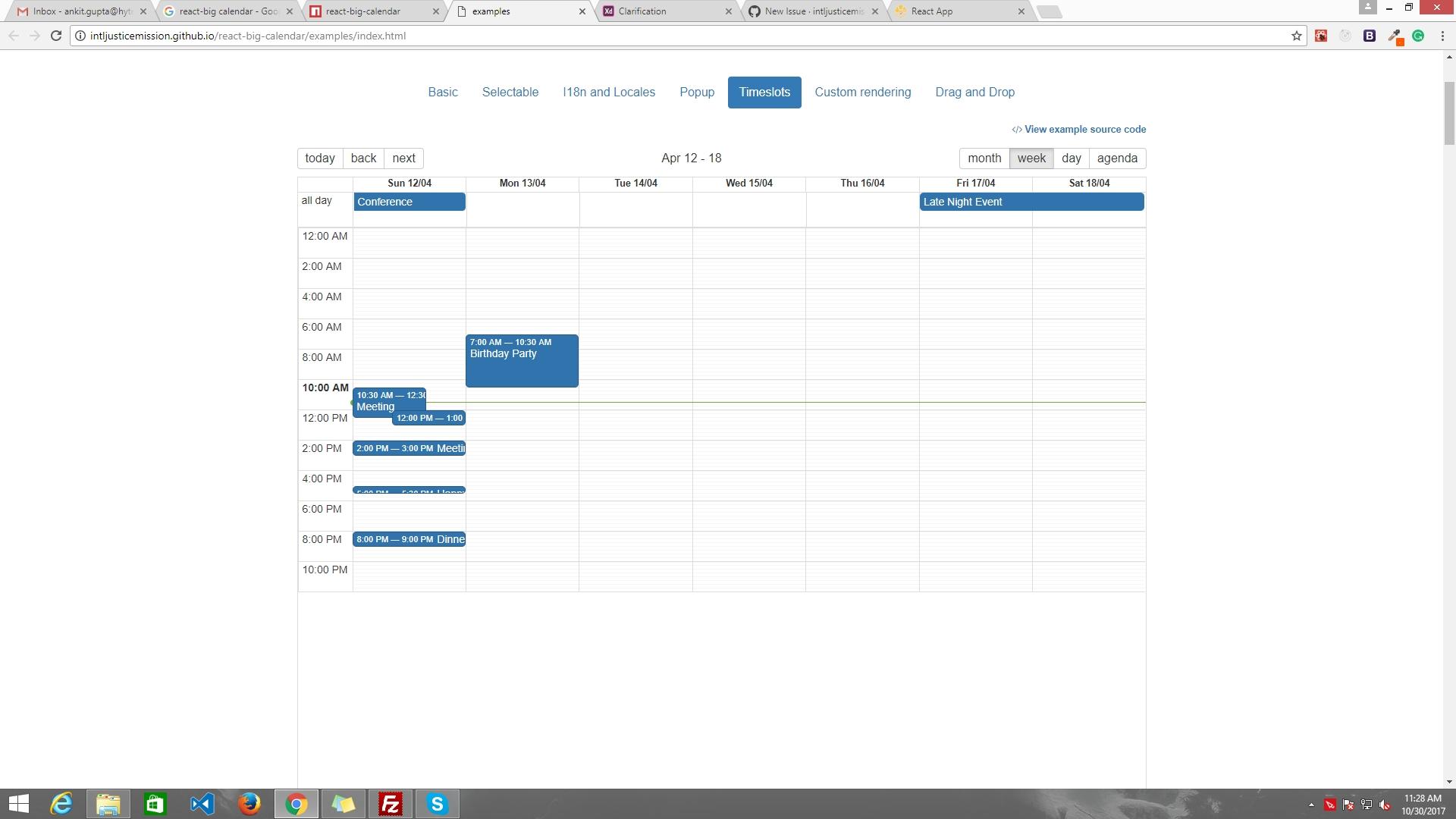 Week View Customization · Issue #601 · Jquense/react-Big