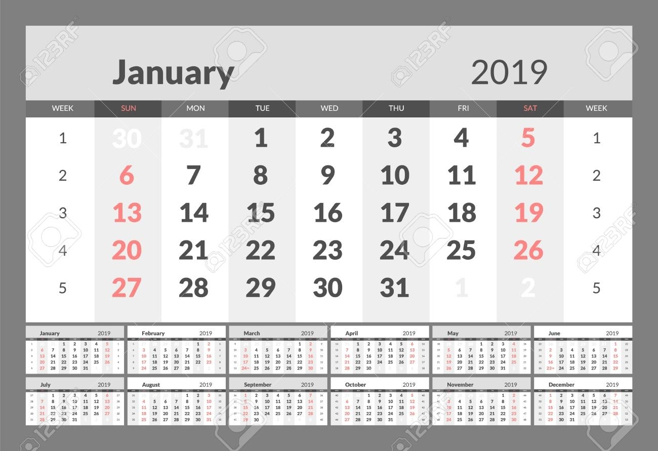 Year 2019 Calendar Horizontal Vector Design Template With Numbers..