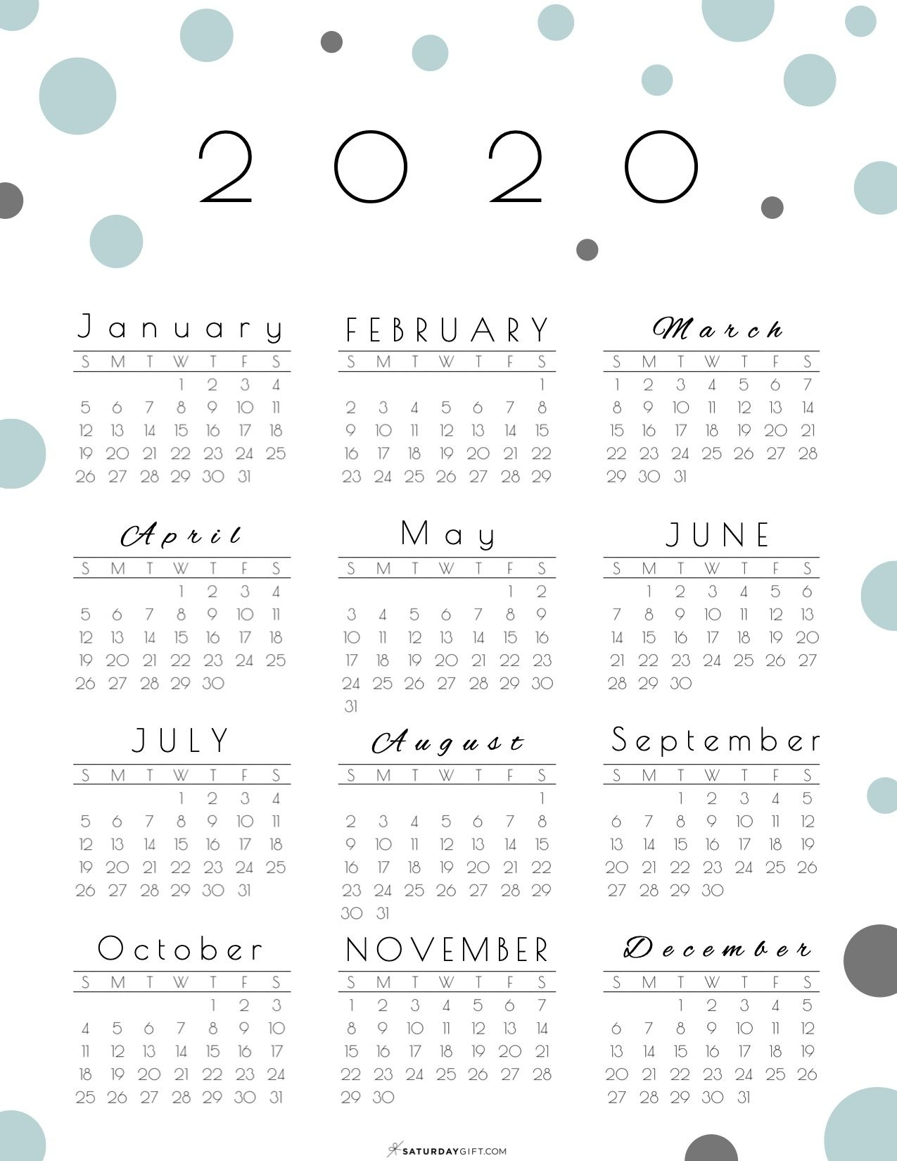 Year At A Glance Calendar 2020 - Pretty (And Free