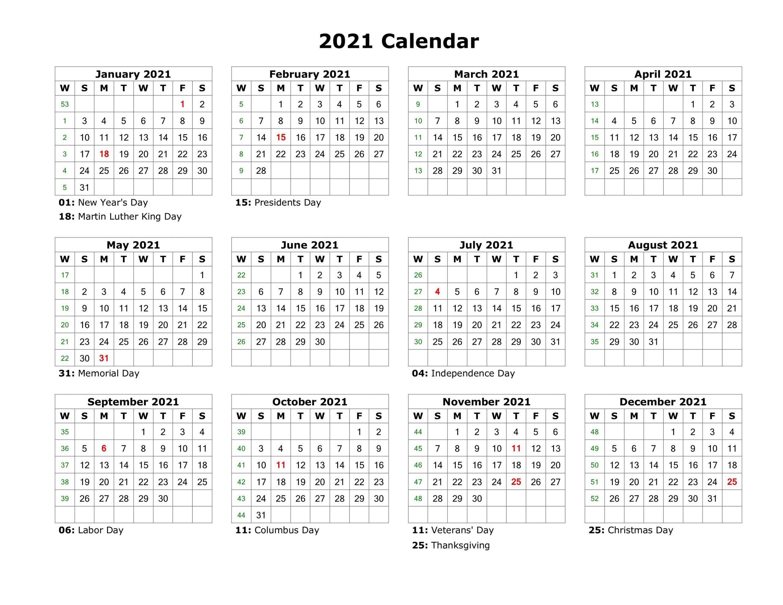 Free Printable Calendar Year 2021 | Month Calendar Printable