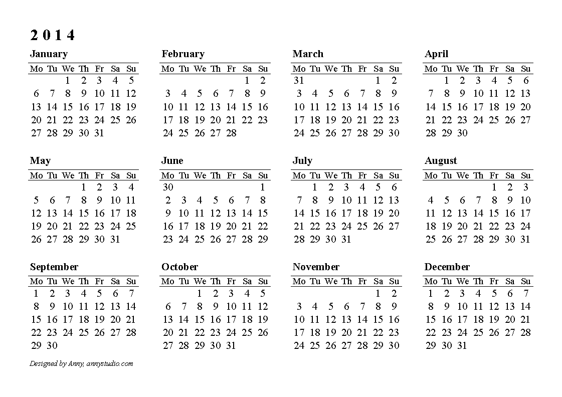 Yearly Calendar 2014 | Templates Free Printable