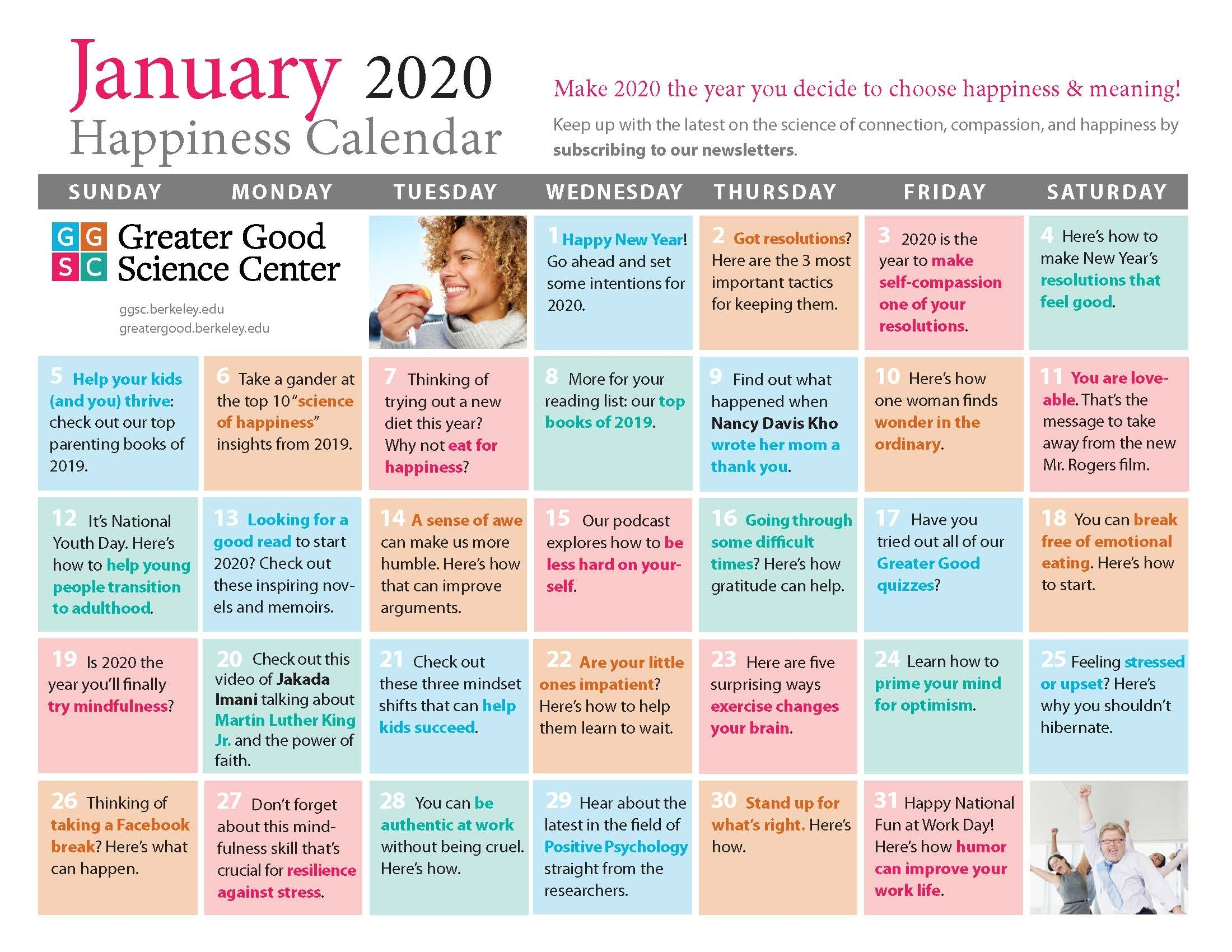 Your Happiness Calendar For January 2020
