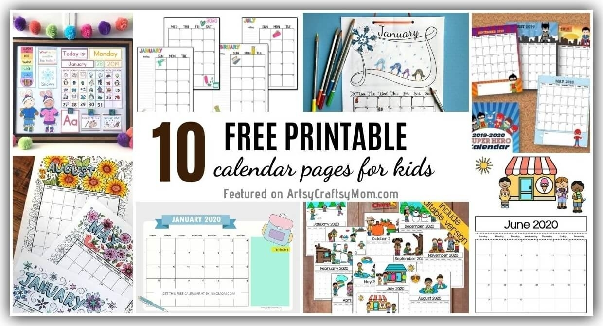 10 Free Printable Calendar Pages For Kids For 2020/2021