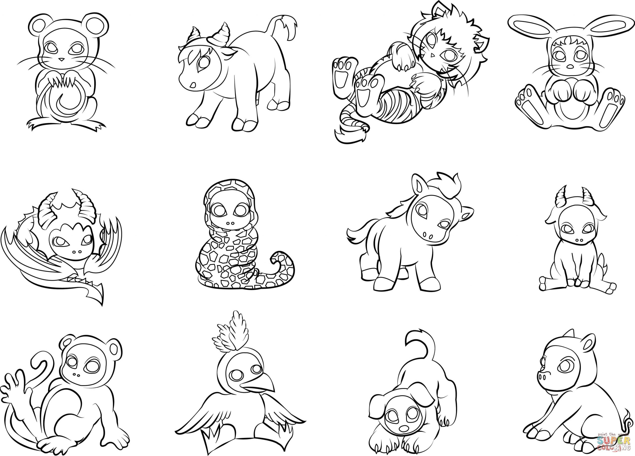 12 Chinese Zodiac Animals Coloring Page | Free Printable