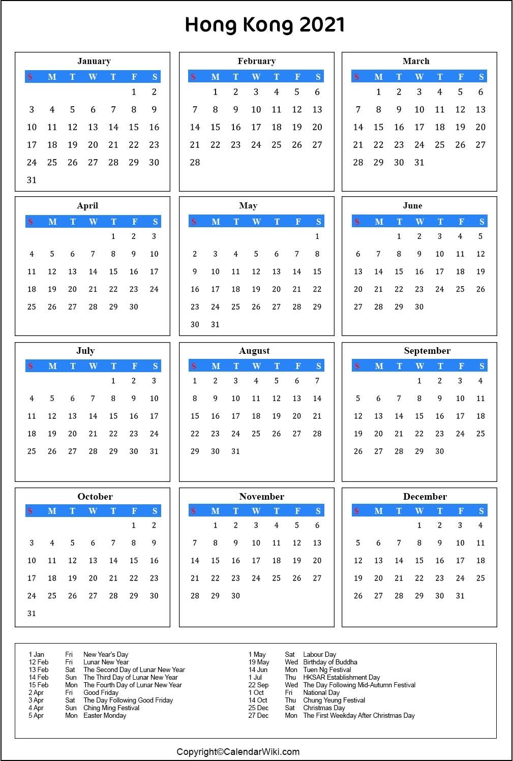 12 Month 2021 Calendar Hong Kong Public Holidays