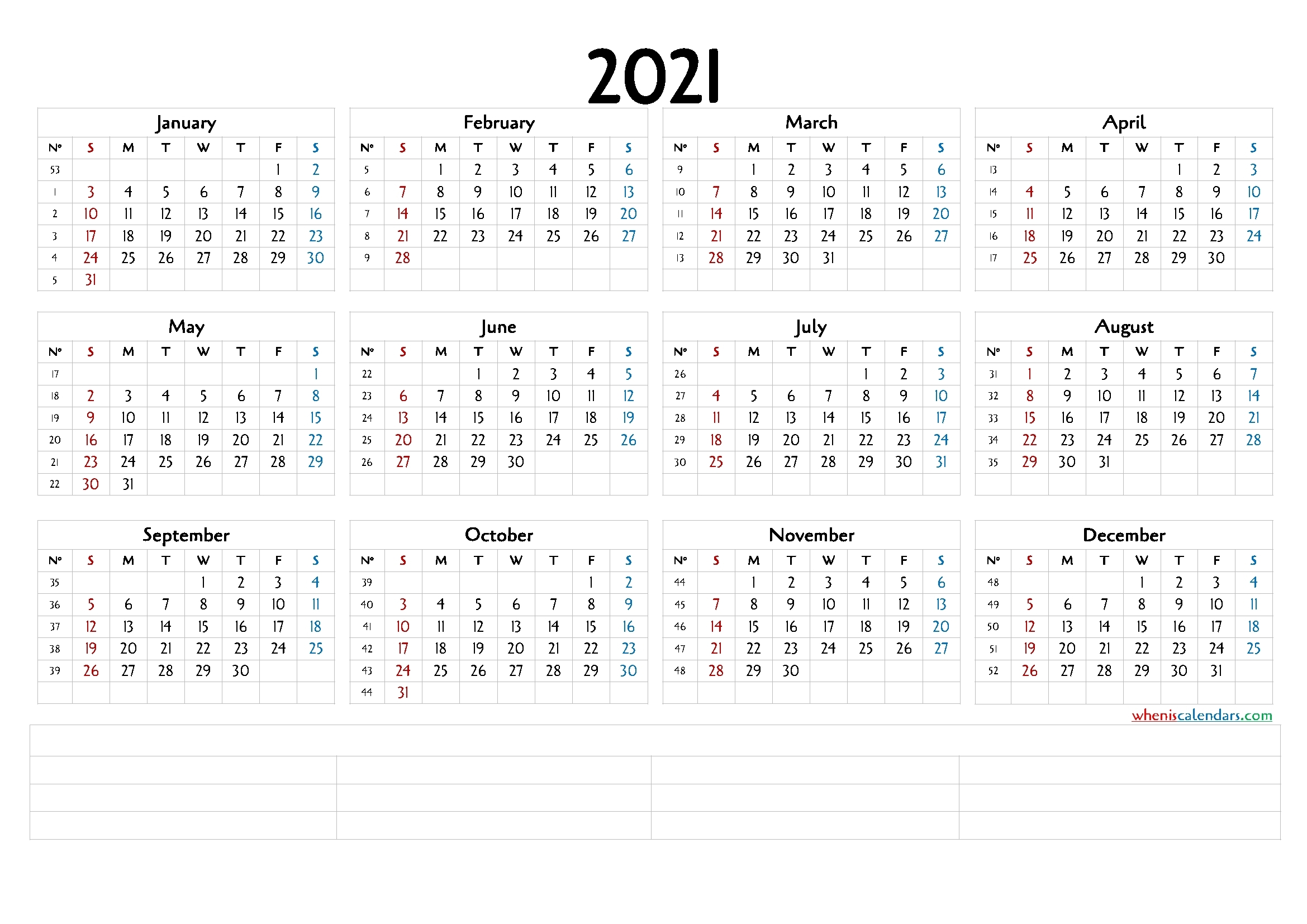 12 Month Calendar Printable 2021 (6 Templates) – Free 2020