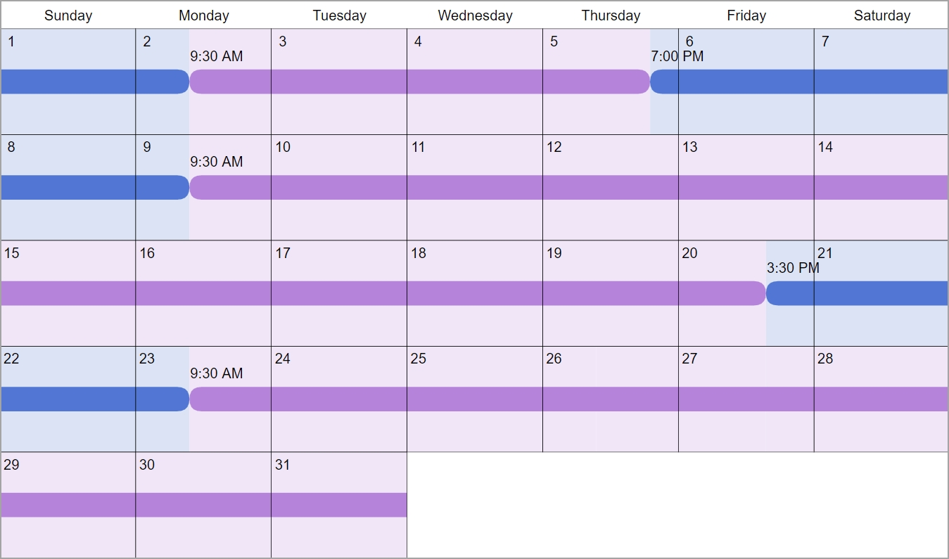 1St, 3Rd And 5Th Weekends: Custody & Visitation Schedule