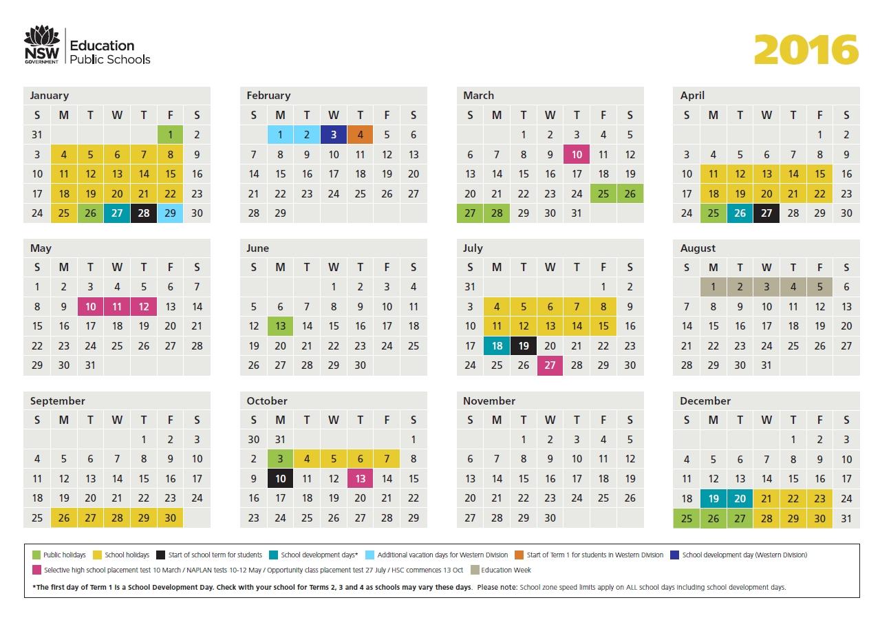 2016 School Calendar - Lake Munmorah Public School
