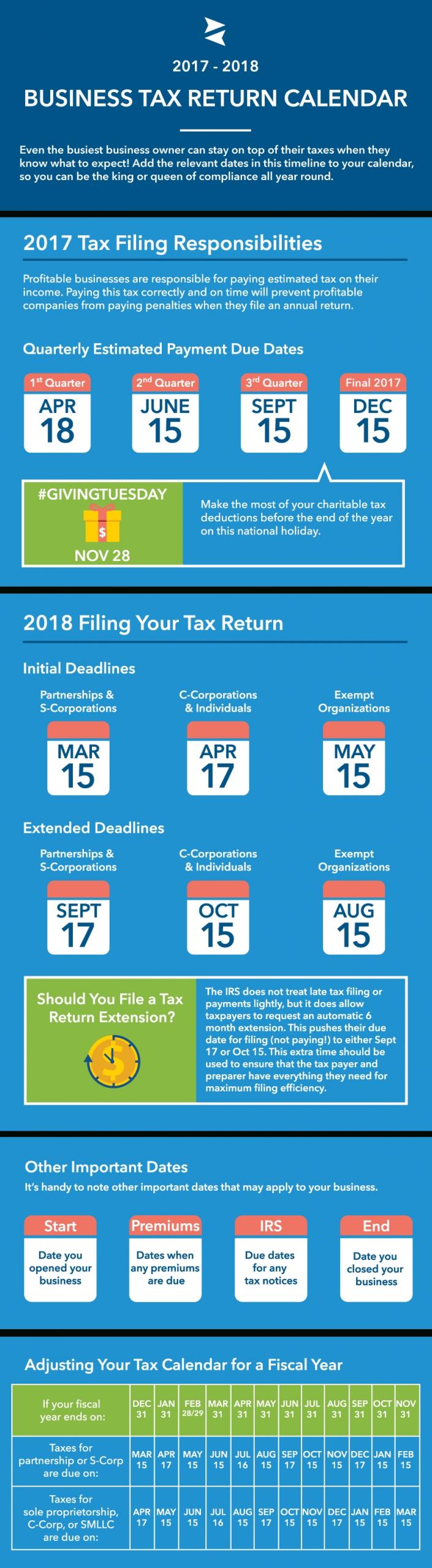 2017-2018 Business Tax Deadlines Calendar