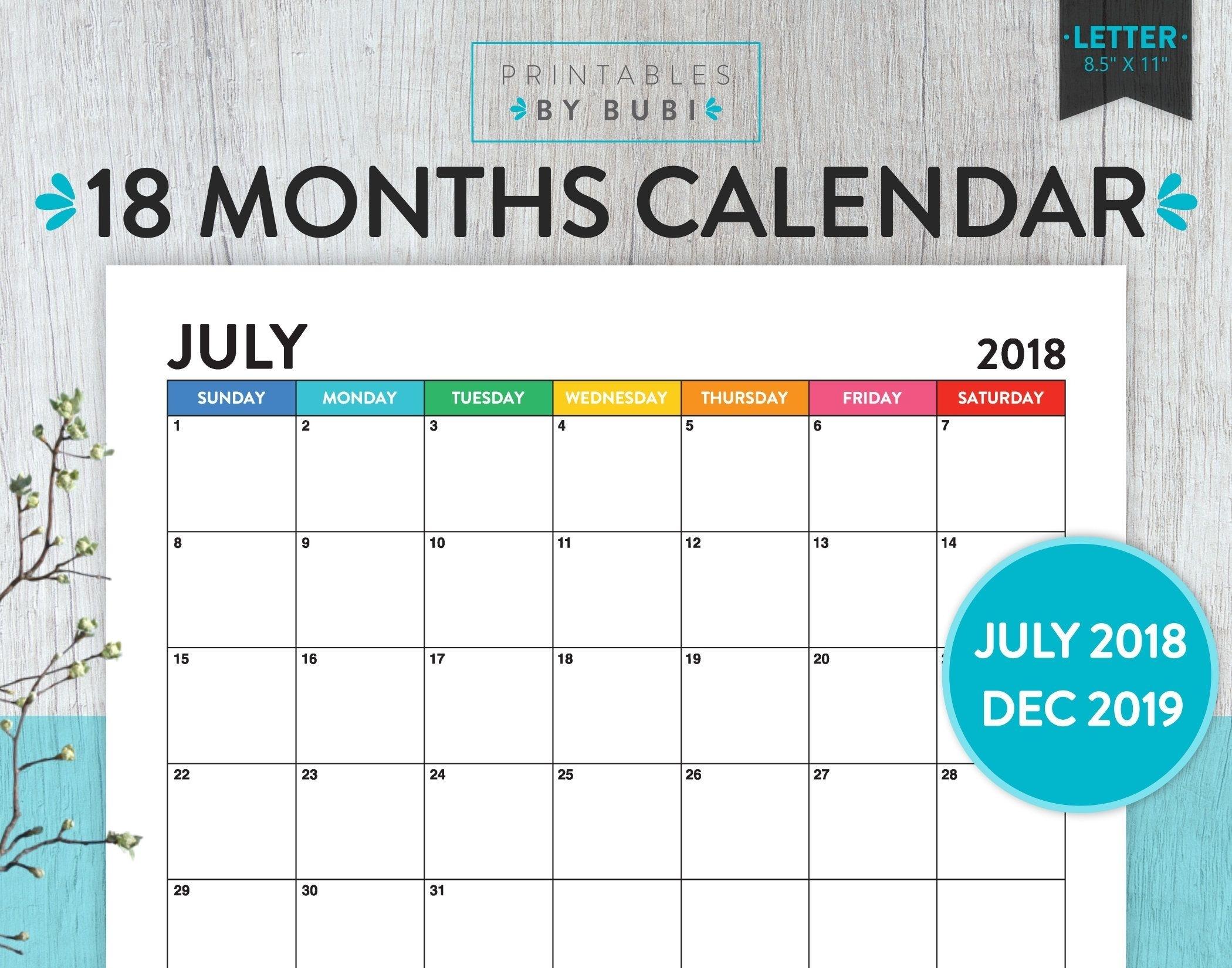 2018 - 2019 Calendar Printable, 2018 - 2019 Printable