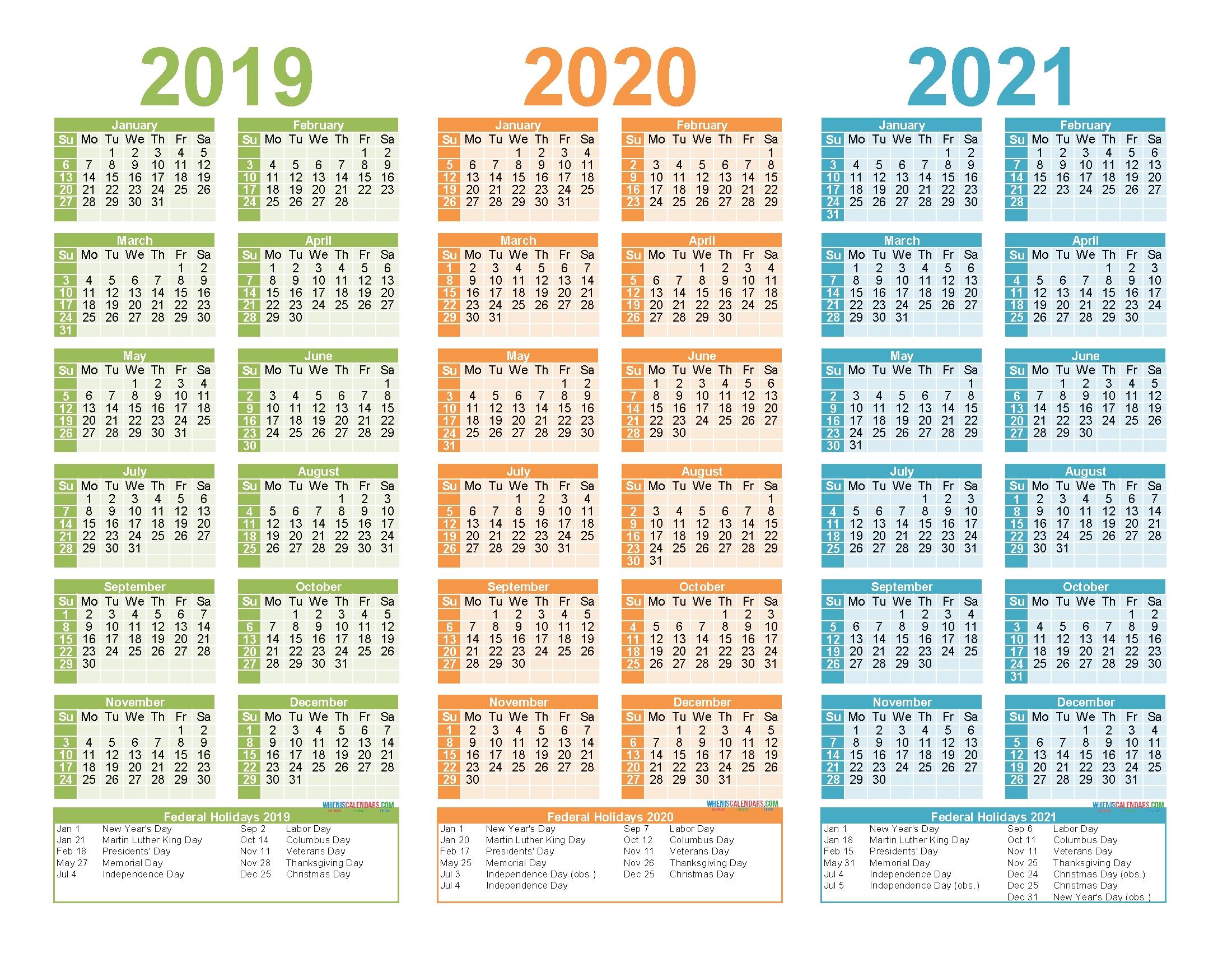 2019 2020 And 2021 Free Printable Calendar With Holidays
