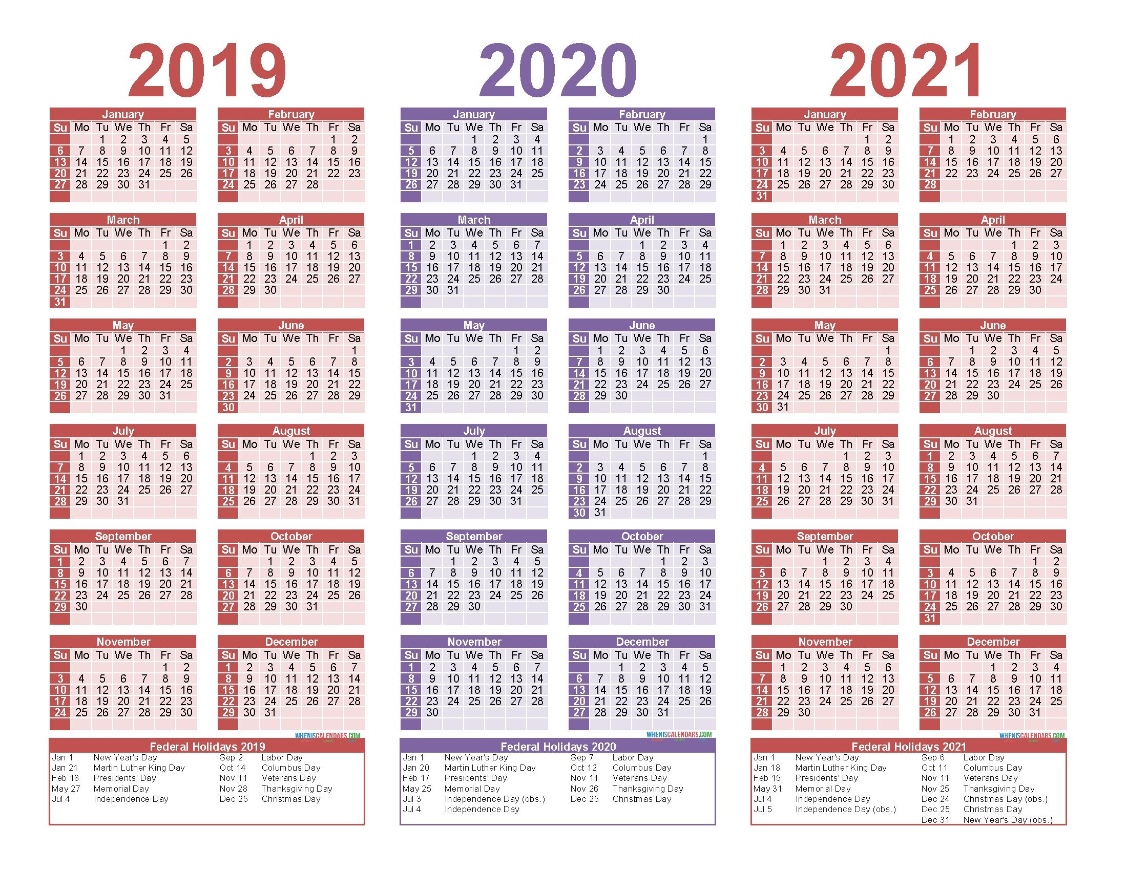2019 And 2020 And 2021 Calendar Printable Pdf, Word – Free