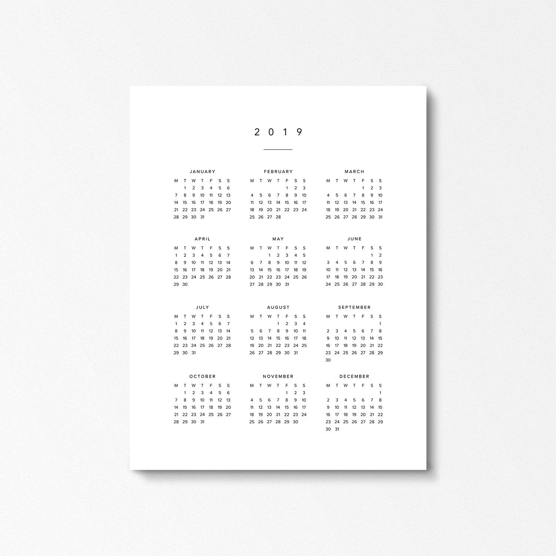 2019 Calendar, Large Digital Year At A Glance Calendar, Monday Start,  Modern Printable, Wall Calendar, Calendar Planner, Black And White