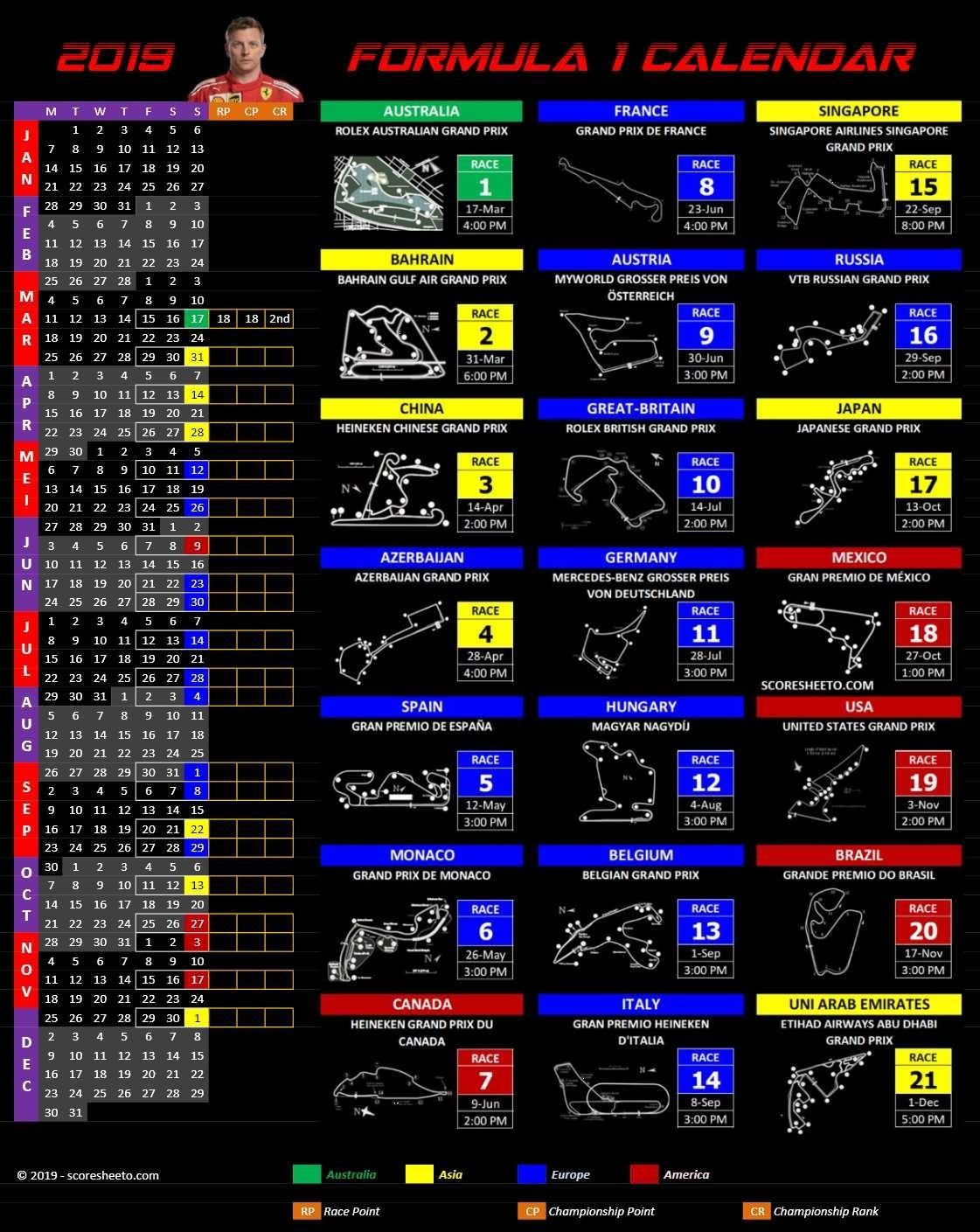 2019 Formula 1 Calendar » Excelcalendars